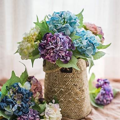 פרחים מלאכותיים 1 ענף כפרי / פרחי חתונה הורטנזיות פרחים לשולחן