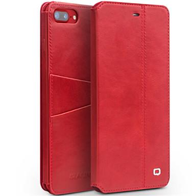 מגן עבור Apple iPhone 7 Plus iPhone 7 מחזיק כרטיסים עמיד בזעזועים עם מעמד נפתח-נסגר כיסוי מלא צבע אחיד קשיח עור אמיתי ל iPhone 7