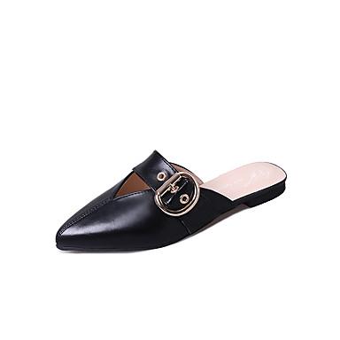 Naisten Kengät PU Kevät Kesä Vapaa-aika Tyylikästä ja modernia Sandaalit Tasapohja Avokkaat varten Päivittäin Valkoinen Musta