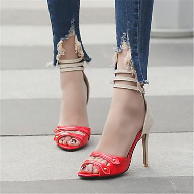 Polyuréthane Chaussures Bleu Bout Nouveauté Talon Femme Eté Rouge Noir 06589764 Cuir Verni Aiguille ouvert Sandales Rivet Gladiateur RtwSZqBZ1