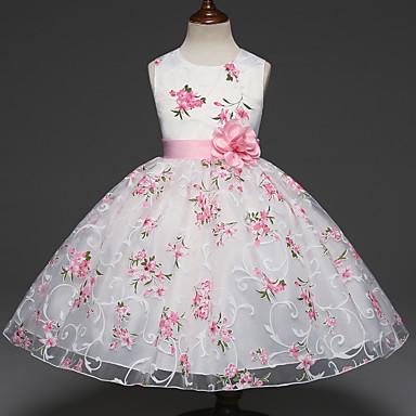 お買い得  女児 ドレス-子供 女の子 甘い パーティー フラワー 多層式 ジャカード ノースリーブ ドレス ホワイト