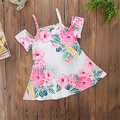 baratos Vestidos para Meninas-Bébé Para Meninas Casual Floral Fashion Delgado Estampado Manga Curta Vestido Arco-íris / Algodão / Fofo