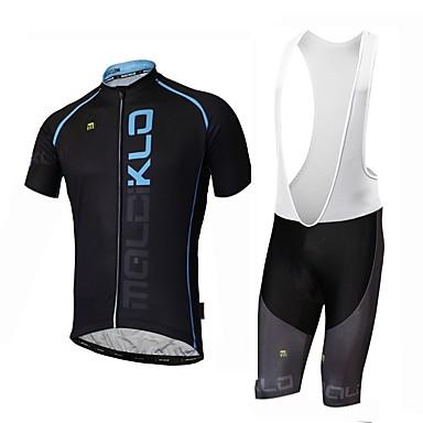 Malciklo בגדי ריקוד גברים שרוול ארוך חולצת ג'רסי ומכנס קצר ביב לרכיבה - לבן / שחור אופניים ג'רזי, ייבוש מהיר, עיצוב אנטומי / סטרצ'י (נמתח)