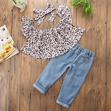 d7b133ca4b11 Toddler Girls' Casual Daily Going out Print Leopard Hole Leopard Print  Printing Sleeveless Regular Regular Cotton Polyester Clothing Set Gray /  Cute