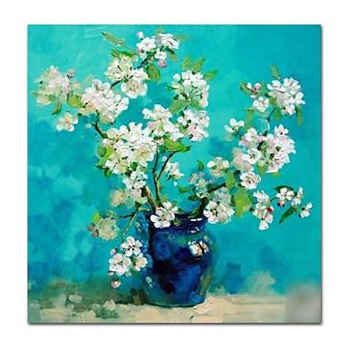 Hang-Malowane obraz olejny Ręcznie malowane - Martwa natura / Kwiatowy / Roślinny Nowoczesne / Nowoczesny Płótno / Rozciągnięte płótno