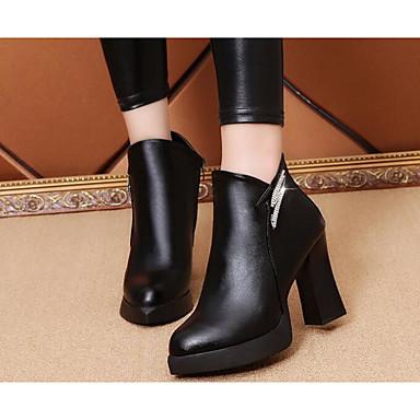 7ece62844 Mulheres Sapatos Couro Ecológico Outono   Inverno Conforto   Botas da Moda Botas  Plataforma Botas Curtas