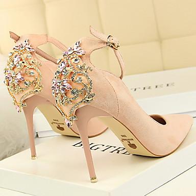 à 06601018 Billes Automne Strass Chaussures Aiguille pointu Daim Boucle Talons Confort Printemps Nouveauté Bout Chaussures Femme Talon qB0fUSn