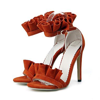 Talon Rose Basique Bout Aiguille Femme Jaune Eté Flocage 06580048 Boucle Chaussures Orange ouvert Escarpin Sandales noir amp; Printemps 410gO