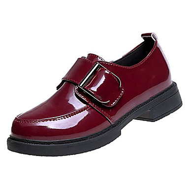 בגדי ריקוד נשים נעליים PU אביב / קיץ נוחות נעלי אוקספורד עקב נמוך בוהן עגולה שחור / בורדו