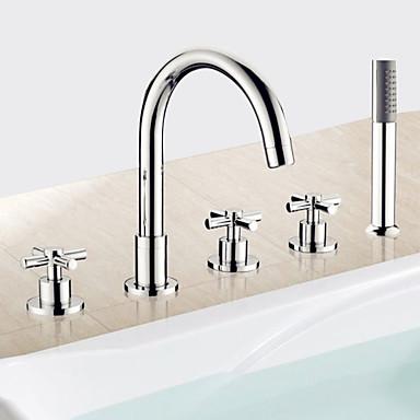 Moderne Romanische Wanne Handdusche inklusive Keramisches Ventil Fünf Löcher Drei Griffe Fünf Löcher Chrom, Badewannenarmaturen
