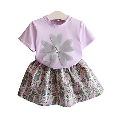 סט של בגדים שרוולים קצרים פרחוני ליציאה סגנון רחוב בנות פעוטות / חמוד