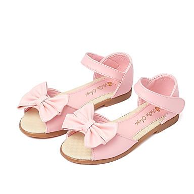 בנות נעליים דמוי עור קיץ נעליים לילדת הפרחים סנדלים פפיון / סקוטש ל לבן / ורוד