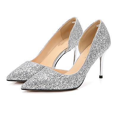 בגדי ריקוד נשים נעליים נצנצים קיץ / סתיו בלרינה בייסיק עקבים עקב סטילטו בוהן מחודדת נצנצים שחור / כסף / שחור וכסף / מסיבה וערב