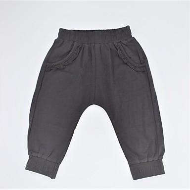 מכנסיים כותנה אביב קיץ יומי אחיד בנות יום יומי שחור אפור כהה