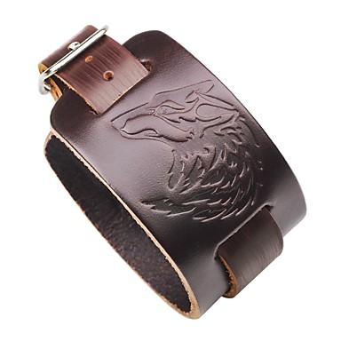 voordelige Herensieraden-Heren Lederen armbanden Wolf Gothic Steampunk Leder Armband sieraden Zwart / Bruin Voor Straat Club