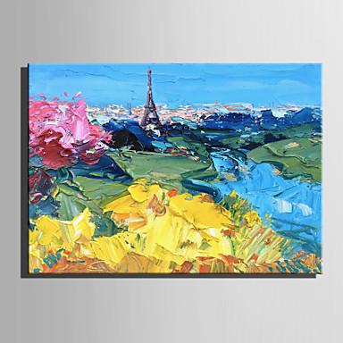 ציור שמן צבוע-Hang מצויר ביד - מופשט L ו-scape מודרני בַּד