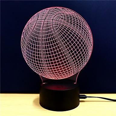 3D Nightlight Zmiana USB Przeciwe stresowi i niepokojom / Zmieniające się kolory / Kreatywne 5 V 3D