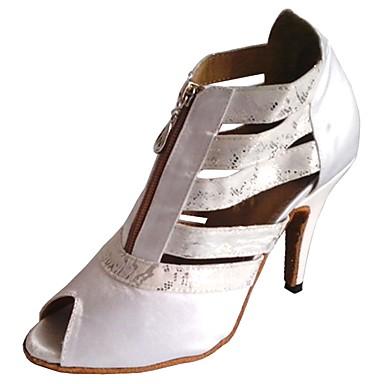 a731a6aa9d073 Femme Satin Chaussures Latines / Chaussures de Salsa Talon Talon  Personnalisé Personnalisables Blanc / Noir / Rouge / Intérieur / EU36