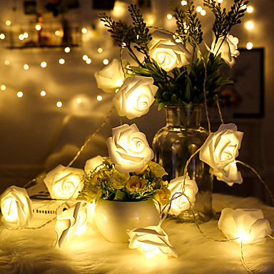 1.5 m Łańcuchy świetlne 10 Diody LED Dip LED Ciepła biel Dekoracyjna Zasilanie bateriami AA 1 szt.