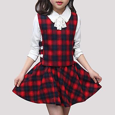 Djeca Djevojčice Ulični šik Izlasci Karirani uzorak Dugih rukava Komplet odjeće