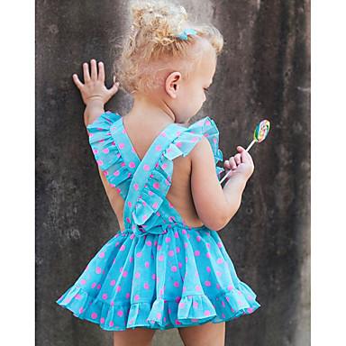 tanie Sukienki dla dziewczynek-Brzdąc Dla dziewczynek Aktywny Codzienny Święto Groszki Nadruk Odkryte plecy Nadruk Bez rękawów Bawełna Poliester Sukienka Niebieski / Śłodkie