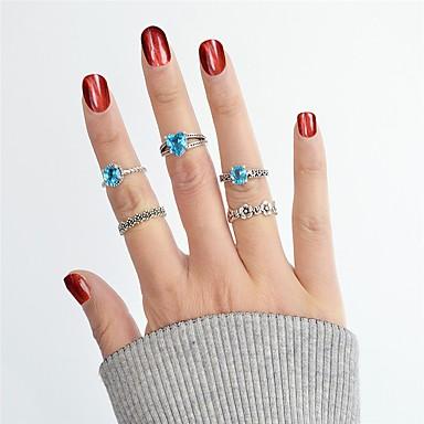 baratos Bijuteria de Mulher-Mulheres Conjunto de anéis / Anéis Meio Dedo / Anéis empilháveis Turmalina Sintética 5pçs Prata Liga senhoras / Básico / Fashion Diário / Encontro Jóias de fantasia