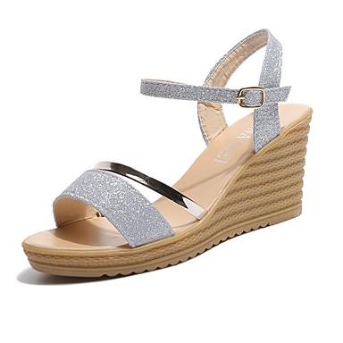 Mujer Zapatos Sintéticos Verano Confort Tacones Tacón Cuña Dorado / Plata / Rojo De Nombreux Types De Vente m8wl4kC