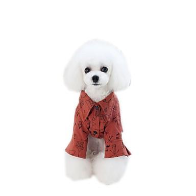 Psy Kombinezon / Suknie / Koszulki Ubrania dla psów Rysunek / Hasło reklamowe Czerwony / Khaki Wyściełana Fabric Kostium Dla zwierząt domowych Lato Elegancki / Słodki styl