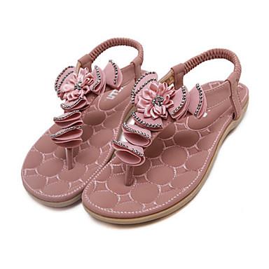 Mujer Zapatos PU Verano Talón Descubierto Zapatillas y flip-flops Tacón Plano Pedrería Negro / Plateado PnifY4ydMz