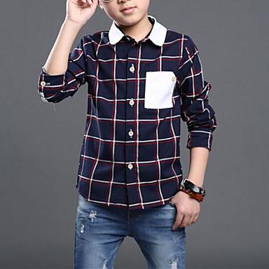 baratos Camisas para Meninos-Infantil Para Meninos Casual Diário Xadrez Conferir Padrão Patchwork Manga Longa Padrão Camisa Bege