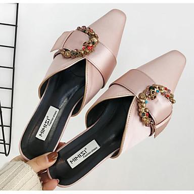 Sabot Talon Confort amp; 06642202 Eté Femme Plat Rose Mules Soie Chaussures Noir qwZ74