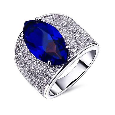 abordables Bague-Couple d'alliance Femme Zircon petit diamant Cuivre Plaqué or Fin dames Européen Bagues Tendance Bijoux Argent Vert Bleu pour Soirée Cadeau