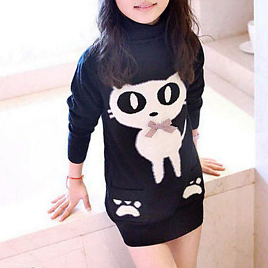 Girls' Blouse, Rayon Winter Fall Long Sleeves Cartoon Black