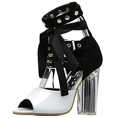 32643c4498c Women s Lace up Patent Leather Spring   Summer Gladiator   Basic Pump  Sandals Chunky Heel Peep Toe White   Black   Party   Evening  06612069