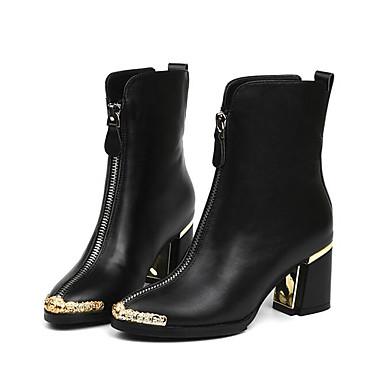 Mujer Zapatos Cuero Otoño / Invierno Confort / Botas de Moda Botas Tacón Cuña Mitad de Gemelo Negro / Gris 01FbB3