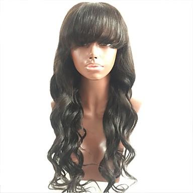 billige Blondeparykker med menneskehår-Ubehandlet hår Helblonde Parykk Lagvis frisyre Med lugg stil Malaysisk hår Bølget Krop Bølge Svart Parykk 130% Hair Tetthet med baby hår Til fargede kvinner Svart Dame Kort Medium Lengde Lang