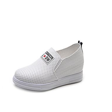 Damen Schuhe Wildleder Sommer Komfort Flache Schuhe Walking Blockabsatz Runde Zehe Schnürsenkel für Weiß / Schwarz