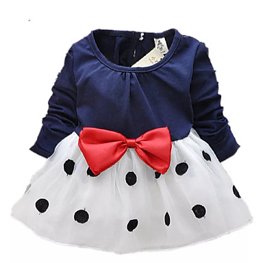 8b8e0fd289348 Toddler Girls' Sweet Cute Daily School Holiday Black & White Polka Dot  Patchwork Bow Long Sleeve Long Others Dress Navy Blue / Going out