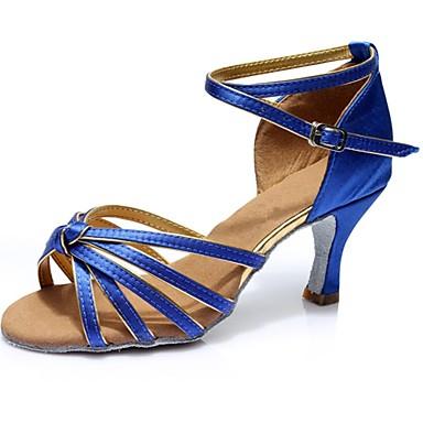 Damskie Buty do latino Satyna Sandały / Na obcasie Łączenie Obcas do wyboru Personlaizowane Buty do tańca Niebieski / Domowy
