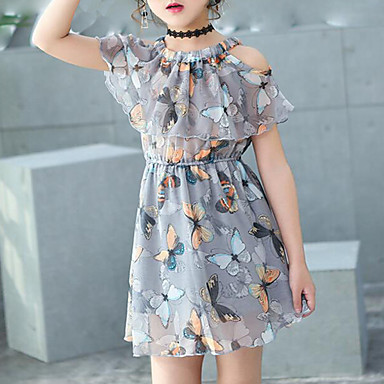お買い得  女児 ドレス-子供 女の子 甘い 日常 祝日 ビーチ バタフライ プリント ノースリーブ コットン ドレス グレー