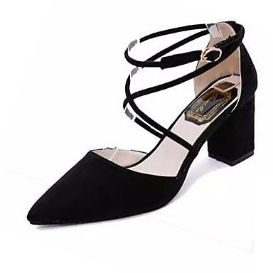 Mujer Zapatos Tela Elástica Verano Talón Descubierto Zuecos y pantuflas Tacón Cuadrado Dedo Puntiagudo Negro Z0oYQuZO