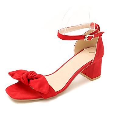 Mujer Zapatos Semicuero Verano Tira en el Tobillo Sandalias Tacón Cuadrado Puntera abierta Pajarita Negro / Beige / Rojo / Fiesta y Noche 4fCNAZ