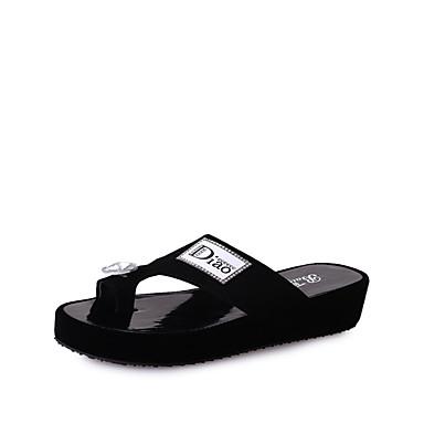 Mulheres Sapatos Couro Ecológico Verão Conforto / botas de desleixo Chinelos e flip-flops Caminhada Sem Salto Dedo Aberto Branco / Preto