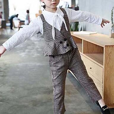 סט של בגדים כותנה חוטי זהורית אביב סתיו יומי ליציאה משובץ בנות פשוט וינטאג' חום אפור בהיר