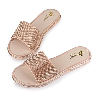 Mujer Zapatos Cuero de Napa Verano Confort Zapatillas y flip-flops Tacón Plano Dorado ikvDYrw