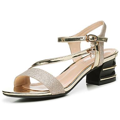 Mujer Zapatos Cuero de Napa Verano Confort / Pump Básico Sandalias Tacón Cuadrado Negro / Plata MeNgLeOCk