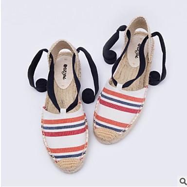Noir Blanc Chaussures 06640460 Eté Tissu Femme Printemps amp; Bleu Sandales Soirée Evénement Bout Talon Ruban fermé Confort Plat Rubans 7HqwPfnP