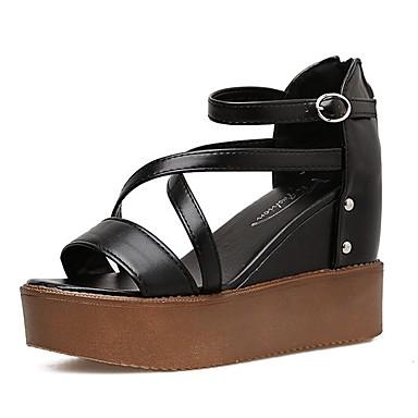 m. / caoutchouc mme · femmes confort d'été en caoutchouc / · préféré sandales creepers blanc / noir) e7c707