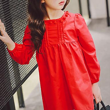 baratos Vestidos para Meninas-Bébé Para Meninas Casual Diário Sólido Manga Longa Vestido Vermelho / Algodão