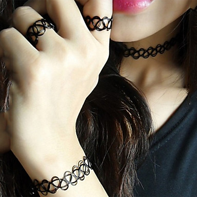 povoljno Nakit i ručni satovi-Žene Komplet nakita Nakit za gležanj Choker oglice jeftino Europska Moda Naušnice Jewelry Crn Za Ulica / Band Ring
